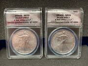 2014 W Silver 1oz Eagle 1 Sp70 First Strike Anacs /1999 Lot Of 2 Coins