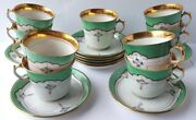 Set 9 St Tea Coffee Cup + Saucer Hand Painted About 1900 Al913