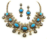 Antique Rose Cut Diamond 10.85ct Polki And Turquoise Necklace Set Xmas Party Wear