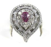 Pear Pink Sapphire And Diamond Cluster Solitaire Halo Ring 14k White Gold 3.88ct