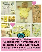 Vintage Cabbage Patch Preemie Doll + Clothes And Accessories Lot_1st Edition_new