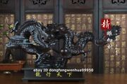 Black Rosewood Wood Chinese Zodiac Dragon Loong Auspicious Wealth Animal Statue