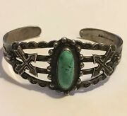 Vintage Native Indian Turquoise Ih Coin Stamped Silver Bracelet Cuff