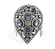 Black Pear Tanzanite And Diamond Cluster Ladyand039s Ring 14k White Gold 2.90ct