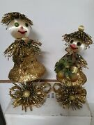 Vintage Glittery Store Display Figurines Retro Christmas Set Of Two