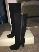 Black Coach Suede Knee High Boots Size 7.5 Or 7 1/2 With Tassel