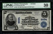 1902 5 Pennsylvania National Bank Of Chester Pa Pmg 30 Fr.598 Charter Ch6654