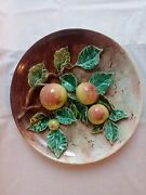 Palissy Majolica Barbotine French Antique Plate. Five Ville. France