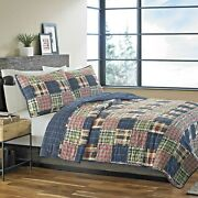 Lodge Quilt Set King Size Comforter Bed Cover Red Indigo Patchwork Plaid Pattern