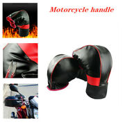 2 Motorcycle Gloves Winter Cold And Windproof Thick Warm Leather Handle Gloves