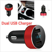 5v 3.1a Red Car Charger Dual Usb Quick Charge Led Display Voltage Fit All Phone