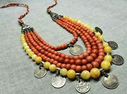 Vtg 19th Necklace Undyed Pressed Coral Powder Dukach Silver 96g Rare Antiqua Old