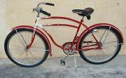 1940's Rollfast Men Bicycle Red Restored Wheels 26 Skip-tooth Antique Americana