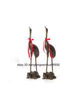 Chinese Pure Bronze Dragon Tortoise Red-crowned Crane Auspicious Fengshui Statue