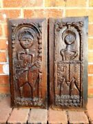 Pair Mid 16thc French Antique Carved Oak Panels Of St Paul And St John Circa 1550