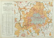 London Fire Brigade. Showing Fire Brigade Stations. Vintage Map. Bacon 1920