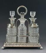 C1900 Martin Hall And Co English Silver Plate Condiment Set W/ Glass Bottles