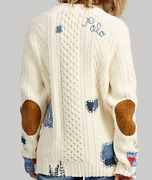 Polo Repair Stitch Patchwork Boyfriend Cable Knit Sweater Cardigan