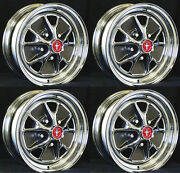 New Mustang Styled Steel Chrome Gt Wheels 14 X 7 Set Of 4 Complete Caps Nuts