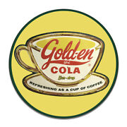 Golden Cola Refreshing As A Cup Of Coffee Sun Drop Round Mdf Wood Sign