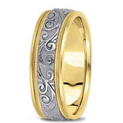 New Mens 14k Two-tone Gold Antique Hand Made Wedding Band Ring 6.5mm Size 10