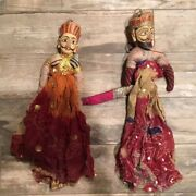 Vintage Burmese Indonesian Thai Puppets Marionettes Dolls Males Wooden Heads