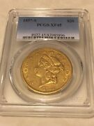 1857-s 20 Pcgs Xf45 Liberty Double Eagle Type 1 Gold Coin Pq Lustrous Eyeclean