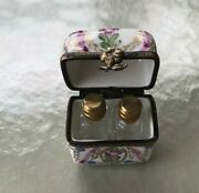 Limoges Rare Trinket Box With 2 Perfume Bottles Outstanding Look