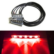 4 Red 5 Led Pod Glow Marine Stern Deck Step Courtesy Accent Light Kit For Boat