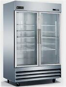 New Equipchefs Cfd-2rr-g Reach-in 2 Swing Glass Door Refrigerator On Casters Cfd