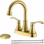 New 2-handle Bathroom Sink Faucet Brushed Gold With Pop-up Drain And Supply Lines