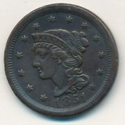 1851 Braided Hair Large Cent-very Nice Circulated Large Cent-ships Free Inv7