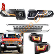 Led Halo Headlights W/ Grille And Taillights Kit K For Toyota Fj Cruiser 2007-16