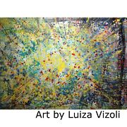 Lights Above 48x36 Abstract Large Painting Yellow Blue Aqua Modern Canvas Ready