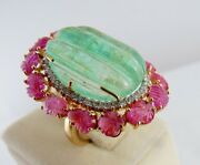 Old Natural Colombian Emerald Ruby Carved Diamond Gemstone18k Gold Ladies Ring