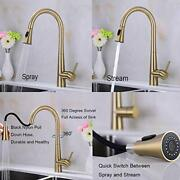 Kitchen Faucet Retractable Pull Down Out High Arc Tap Swivel Spout Brushed Gold