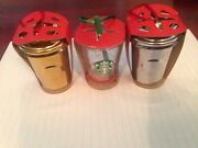 Starbucks 2014 Holiday To Go Cup Ornament Lot X 3 Gold/ Silver/ Cold