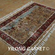 Yilong 3.3and039x5.6and039 Tapestry Silk Rugs Hand Knotted Hunting Scenes Carpets 1600
