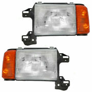 Fit For Ford F-150 Truck 1987 1988 1989 1990 1991 Headlights W/blk Right And Left