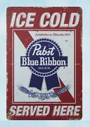 Decoration Design Ice Cold Pabst Blue Ribbon Beer Metal Tin Sign