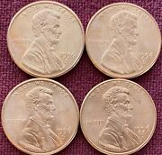 1996 D Lincoln Memorial Cent Bu Penny Us Coin - Lot Of 4 Pennies.