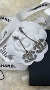 Nwt Xl Sparkly Cc Silver Strass Crystal Classic Earrings Posts Sold Out
