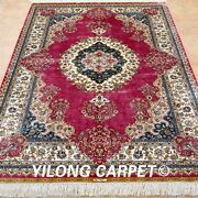 Yilong 4and039x6and039 Pink Handmade Silk Rugs Classic Classic Carpets Hand Knotted 0119