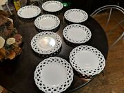 Set Of 8 Rare And Incredible Antique Milk Glass Plates