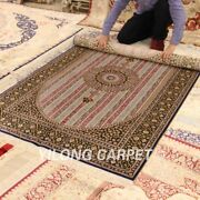 Yilong 4and039x6and039 Luxury Patchwork Silk Area Rugs Handmade Carpet Hand Knotted 034a