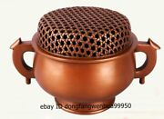 Chinese Red Copper Bronze Buddhism Bamboo Basket Style Incense Burner Censer