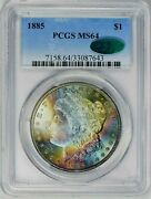 1885 Pcgs Ms-64 Cac Morgan Silver Dollar Rainbow Color Toning And Luster Toned