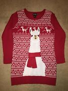 Womens Xl Long Ugly Tacky Christmas Sweater Llama Red White Scarf Love Always