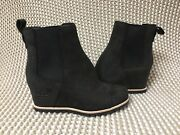 Ugg Pax Black Waterproof Leather Chelsea Wedge Ankle Boots Size 11 Womens