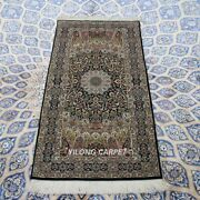 Yilong 2and039x4and039 Blue Hand Knotted Wool Silk Carpet Strip Antique Rugs Runner 063s